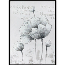 Hotel decoration handmade flower canvas wall art oil paintings