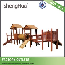 New Popular kids wood large outdoor playground slide equipment with ISO 9001 certificate