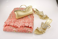 Special design charming Bead tulle lace with stones macthing gold shoe and bag for wedding