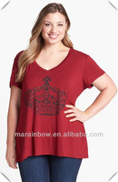 American apparel plus size loose fit V neck T-shirt for fat women