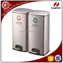 Outdoor eco-friendly stainless steel foot pedal waste bin
