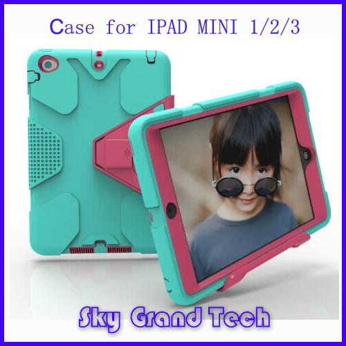full protective stripe stand holder plastic tablet case for ipad mini3