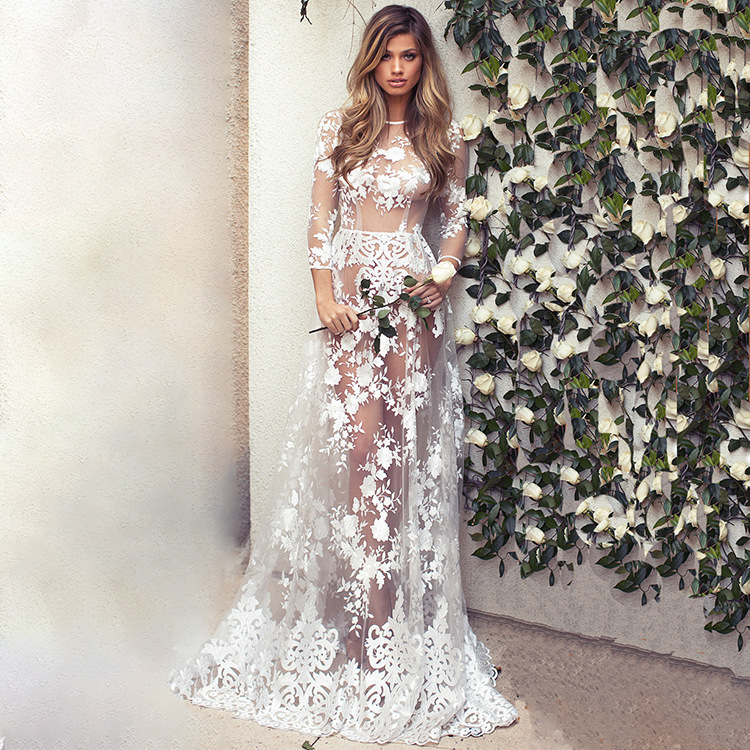 Wholesale Lace Long Sleeve Size Customized Women Designer One Piece Dress Long Maxi Dress