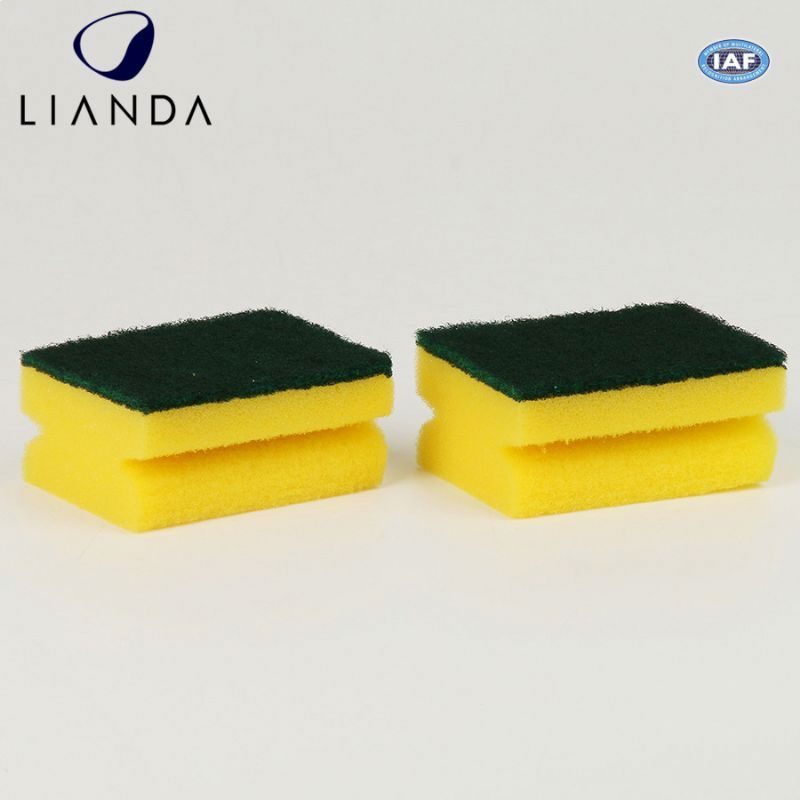 Kitchen utensil cleaning use cheap high strength fibre kitchen sponge scouring pad