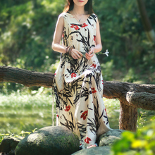 2017 Summer Maxi Long Dress Women Folk Robe Cotton Linen Tank Dresses V Neck Mori Girl Sleeveless Sundress