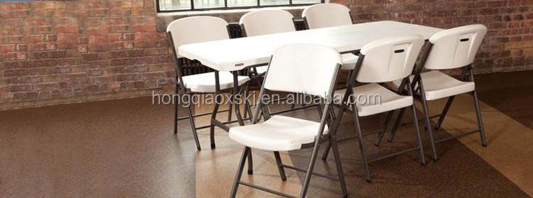 180cm blow molding plastic fold in double table with safety lock, hot sale folding table for market