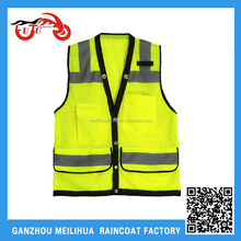 Fluorescence Yellow Reflective Horse Riding Safety Vest with Pockets