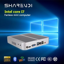 2017 latest office working intel core i7 minji pc, fanless and aluminium alloy case, SSD+HDD and usb ports.