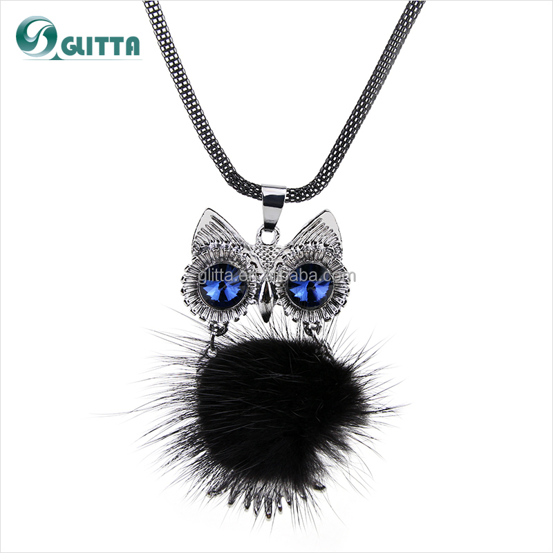 2015 Wholesale Fashion accessories for women cute feather OWL pendant necklace alloy sapphire pendant necklace GL15512
