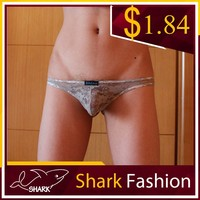Shark Fashion sexy gay man underwear beautiful male transparent lace thongs panties
