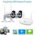 P2P WIFI Motion Detection Camera Kit 2CH Wireless Outdoor Surveillance Camera 720P Wireless Surveillance DVR kit