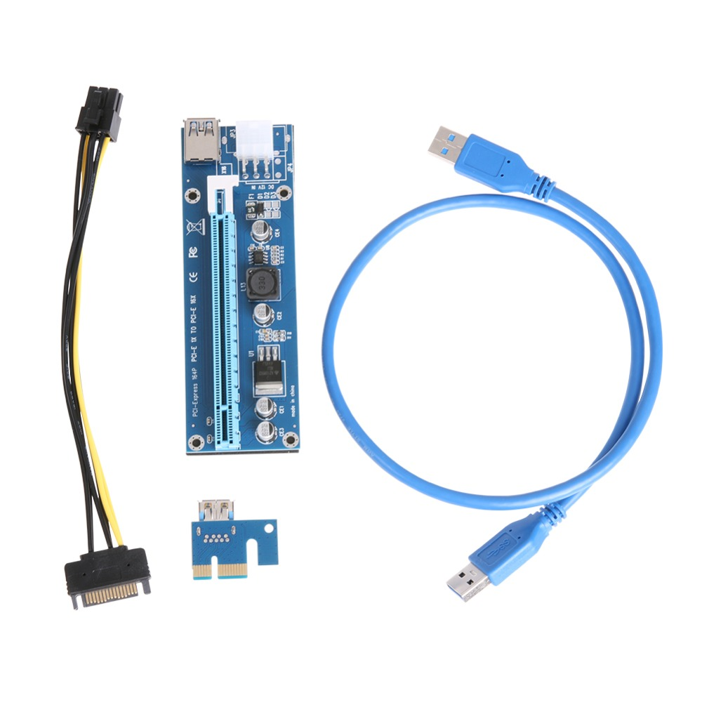 Upgraded PCIe PCI Express Riser Card 1x to 16x USB 3.0 Data Cable SATA to 4pin IDE Molex Power Cable 30/60cm for Bitcoin Miner