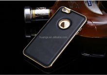 For iPhone 6S Phone Cases Luxury Hybrid PU Leather + Aluminum Metal Frame Case for iPhone 6S Fashion Armor Accessories Cover