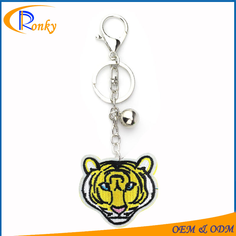 Innovative products tiger shaped custom embroidered keychain