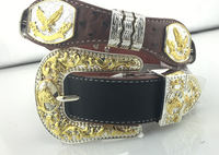 Gold horse head buckle genuine leather western belts for men
