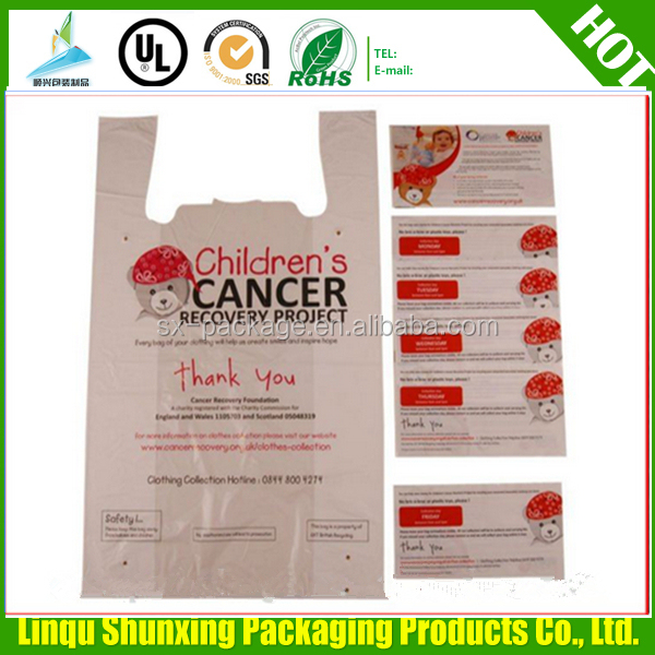 hdpe charity bags / plastic printed specimen collection bags