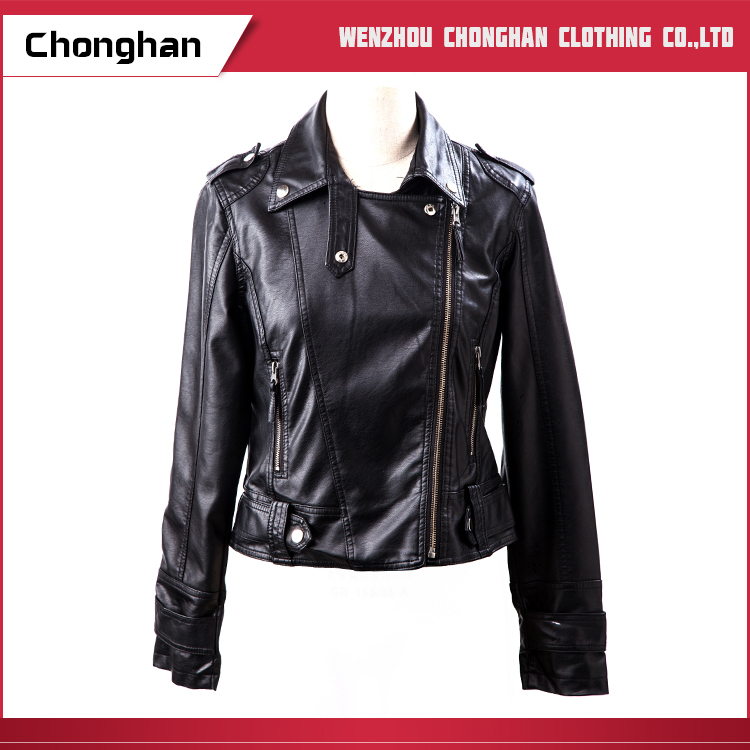 Chonghan Newest Custom Design Black Women Leather Bike Jacket
