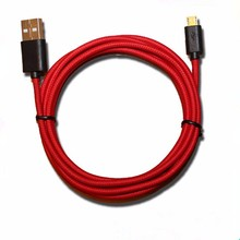 Standard red color braided plastic head micro usb extension cable