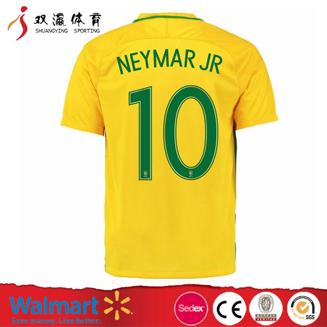 Anti-pilling,breathable adult yellow neymar soccer shirt,cheap football shirts bulk soccer jerseys