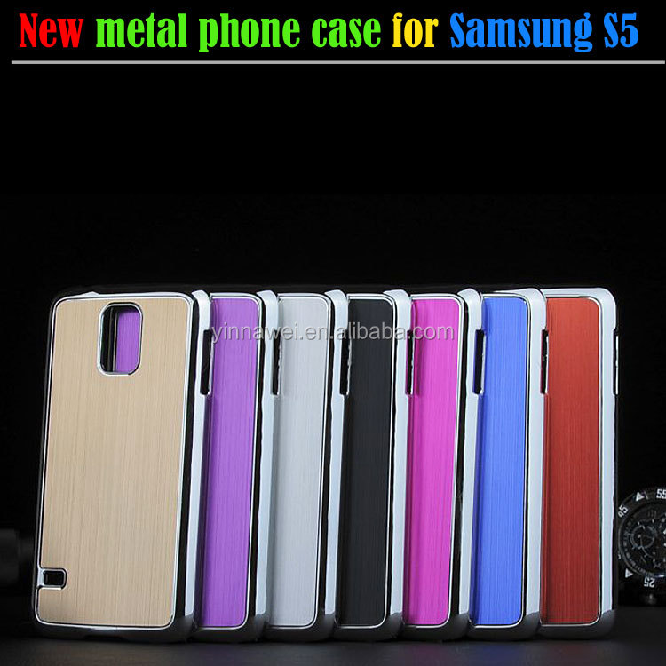 New design Electroplating cover brushed metal mobile phone case for Samsung GALAXY S5 i9600
