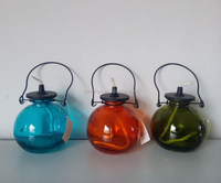Colourful glass metal top and handle oil lamp lantern