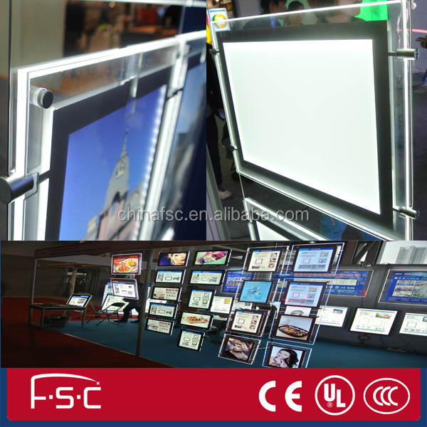 Black Border Magnetic crystal led frames Illuminated light box hanging real estate agent window display