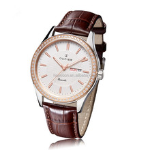 NEW! The gorgeous bracelet watch with Brown leather band, wrist timepiece is accented with glistening crystals for added flair