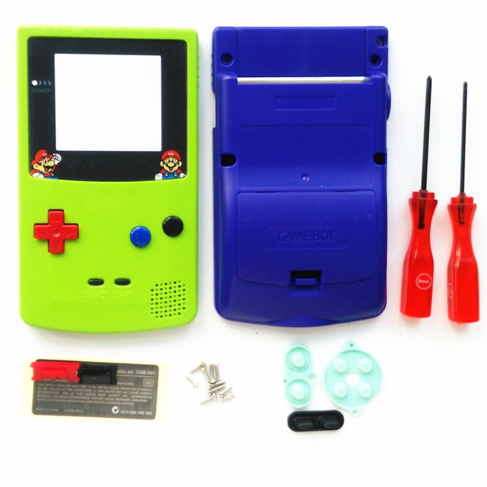 For GBC Mario Version Apple Green & Blue Housing Shell For GBC Housing Case Pack