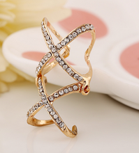 W30166H 2015 fashion wholesale adjustable double cross ring with diamond