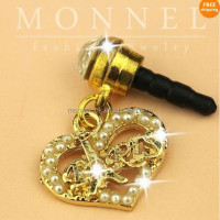ip291-1 Monnel Custom Alloy Gold Tone Heart Love Paris Headphone Cell phone Anti Dust Plug Cover charm