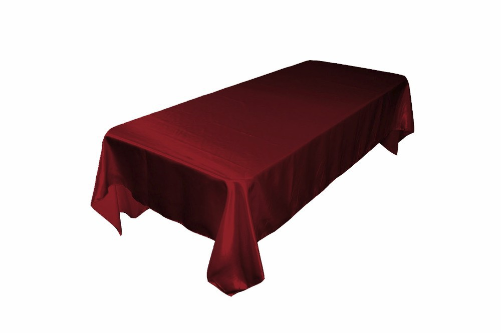 LA Linen 60x120-Inch Rectangular Polyester Satin Tablecloth, Burgundy. Made In USA.