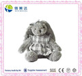 High Quality Stuffed Grey Rabbit Plush Toy in Grey Plaid Skirt