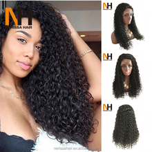 Cheap Afro Kinky Curly Virgin Hair Glueless 180 Density Full Lace Human Hair Wig With Baby Hair For Black Women