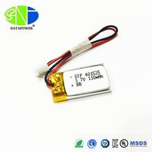 Best selling small lipo battery DTP 401525 3.7V 110mAh recharge li polymer battery