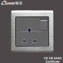 13A UK socket with stainless steel panel,BS socket,British socket