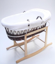 bassinet wicker baby basket with fabric and stand