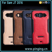 Hot Selling Soft TPU + Pressure PU Leather Phone Cover For Samsung Galaxy J7 2016 J710 Back Case