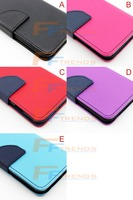 Contrast Color Leather wallet Flip stand Pouch Cover Case For iPhone 4 4S 5 5S 5C 6 6Plus