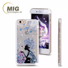 Phone case for iphone 6 plastic colorful liquid glitter star cell phone case for iphone 5 6 6s plus