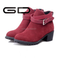 2015 simple style ladies flat heel women boots ankle boots from china