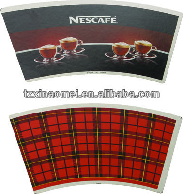 7oz printed and cutted paper cup fan(FMH-069)