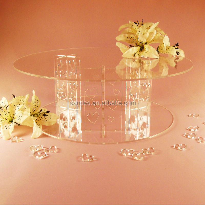 Plastic Wedding Cake Stand Wholesale Clear Acrylic Heart Pillar 12 Inches Cake Stand
