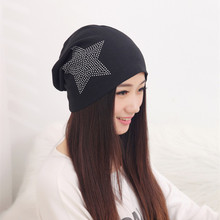 Winter women diamond five-pointed star slouch cotton beanie hat