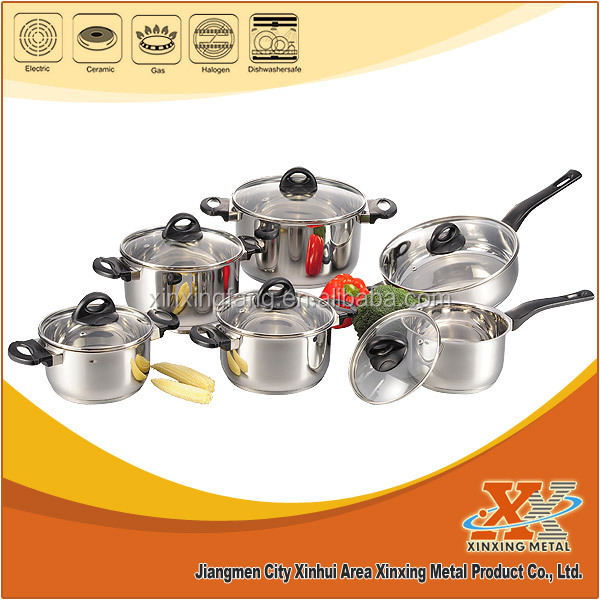 12PCS cook ware stainless steel cooking sets cook ware