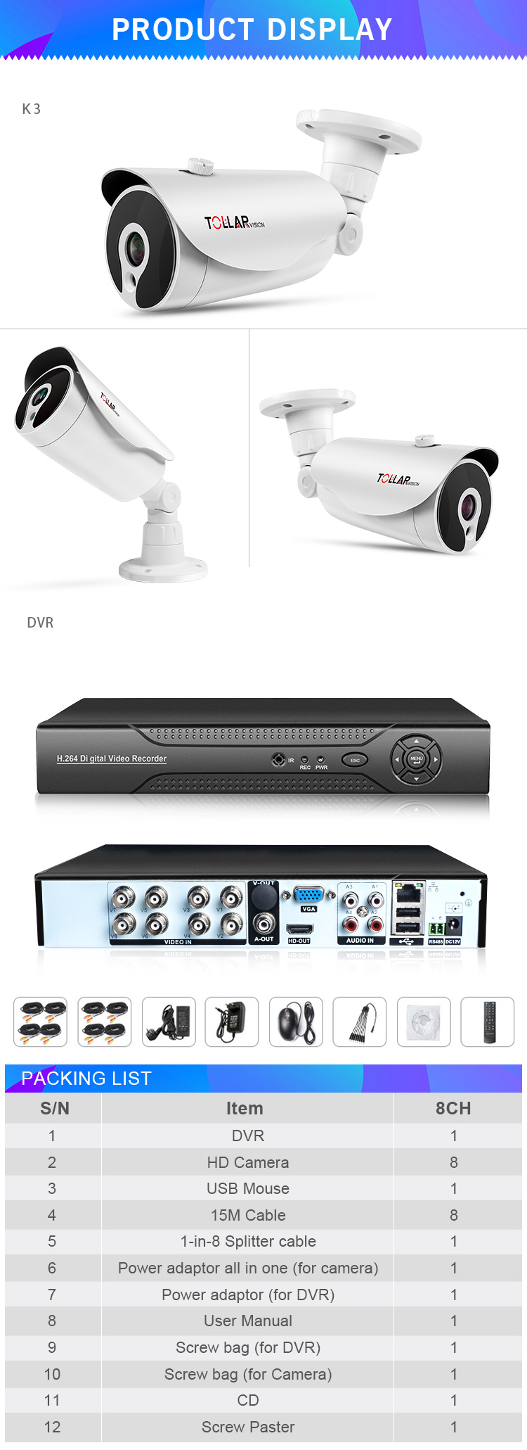 2018 Wholesale cctv security surveillance 35m infrared distance 1080P security camera system 8ch 5 in 1 camera kit