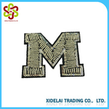 Handmade articles Embroidery flower patches cute M logo letter patch