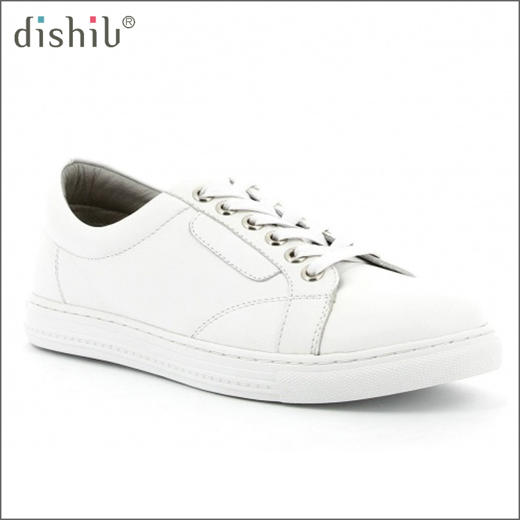 Sneaker manufacturers lacing white fancy stylish new design brand ladies elegant leather flat shoes