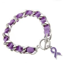 Alibaba DIY personalized purple silk ribbon charm toggle bracelet