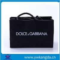 Yiwu Factory wholesale customized hotstamped logo paper shopping bag, black paper bag