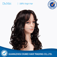 Factory direct price 100% virgin full lace wig brazilian remy with bangs